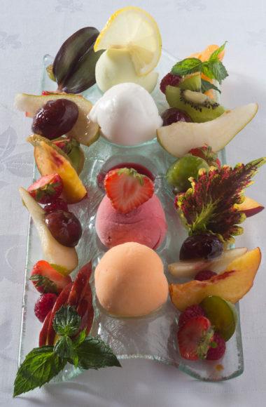 Sorbets et fruis frais, restaurant de la Grange de Condé en Moselle